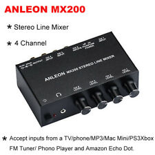 ANLEON Stereo Line RCA Mixer 4-Channel Accept Inputs from Mac Phono Player TV