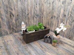 WOOD PLANTER RECLAIMED WINDOW BOX PLANT HERB FLOWER RUSTIC SHABBY CHICK 40 CM