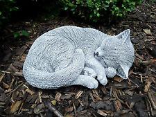 Steinfigur  große eingerollte Katze   Frostfest Steinguss Garten Deko