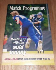 Scotland v England ODI cricket 2010 match programme