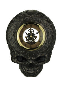 Flat Smiling Decorated Skull Transparent Face Wall Clock
