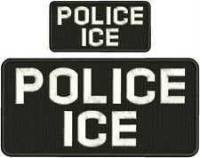 POLICE ICE EMBROIDERY PATCH 5X10 AND 2.5X5 HOOK ON BACK BLK/WHITE