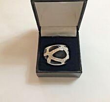Nataliya V Collister Vintage White Metal Designer Statement Ring - Size T 1/2