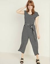 Old Navy Jersey Tie-Belt Cap-Sleeve Jumpsuit Size Large Black Cream Striped NWT