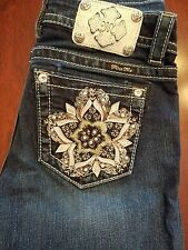 LADIES MISS ME FLOWER POCKET CAPRI CUFFED JEANS SIGNATURE RISE JP7593P SIZE 26