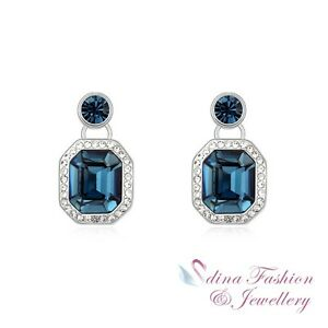 1 8K White Gold Plated Made With Swarovski Crystal Classic Luxury Stud Earrings