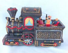 Carillon giostra giostrina in resina fatto a treno con orsetti L19 cm