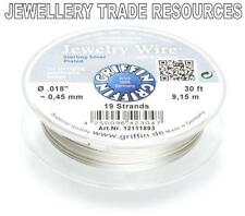 """GRIFFIN SILVER PLATED STEEL BEADING JEWELRY WIRE .018"""" / 0.45mm 30 FT 19 STRAND"""