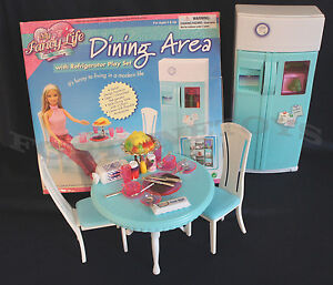 Fancy Life DOLLHOUSE FURNITURE DINING AREA Room w/Refrigerator PLAYSET FOR Dolls