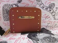 JUICY COUTURE Wallet Leather Cognac Tan Zip Around Gold Studs Animal Print NEW