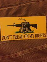 DON'T TREAD ON MY RIGHTS  Anti-Obama Pro Gun Bumper Sticker  WB
