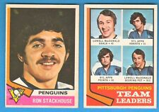 1974-75 OPC #183 PENGUINS T. LEADERS, SYL APPS, L  MACDONALD, #188 R. STACKHOUSE