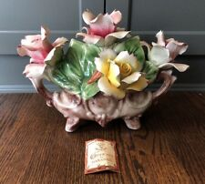 Vintage Capodimonte Porcelain Flower Arrangement Centerpiece Tag Included