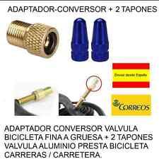 ADAPTADOR-CONVERSOR VALVULA BICICLETA FINA A GRUESA + 2 TAPONES AZUL ALUMINIO