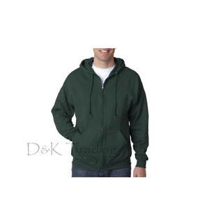 Men Unisex Solid Full Zip Up Hoodie Classic Zipper Hooded Sweatshirt Size S-5XL
