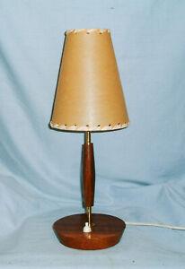 *MID CENTURY -  DANISH TEAK & BRASS TABLE LAMP*