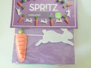 "Spritz Easter Garland Bunnies and Carrots on White Rope 72 1/2"" Long New in Pack"