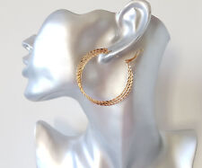 Gold tone hoop earrings - Pretty 5cm 3 row patterned round sparkly hoops