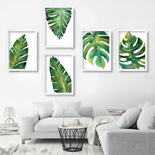 5 x PRINT of Watercolour Painting Banana & Fern Leaf Leaves PICTURE Poster Decor