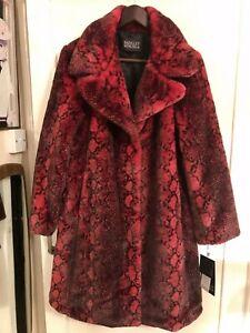 Wonderful Badgley Mischka Crimson Leopard Print Faux Fur Coat BNWT Size S UK 10