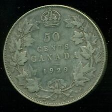 1929 Canada, King George V, Silver Fifty Cent Piece   L239