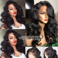 Remy Peruvian Human Hair Full Lace Wig Lace Front Wigs Glueless Loose Wave #Urq