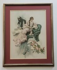 """1904 Harrison FISHER Victorian LADY Art Print """"A MORNING GREETING"""" Framed 22x17"""""""