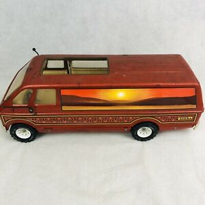 Tonka Vtg Desert Custom Camper Van 3985 Sliding Door Pressed Steel Orange 70s