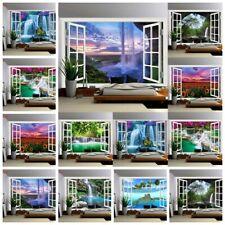 Window Waterfall Scenery Tapestry Wall Hanging Bedspread Blankets Wall Hangings