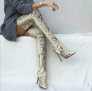Women Snakeskin Over Knee High Boots Stiletto Leather Thigh High Heels Shoes New