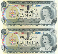 BANK OF CANADA LOF OF 2 IN A ROW 1 DOLLAR 1973 EAX - UNC