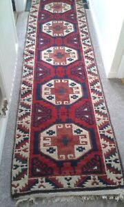 """EASTERN FRINGED RUNNER 29"""" X 113"""",A RED,BLUE AND CREAM BORDERED PATTERNED RUNNER"""