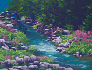 Original Acrylic Painting of a Spring Stream 11x14 Landscape by Timothy Stanford