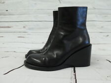 Ann Demeulemeester Ankle Boot Blanche Black Wedge Size 38 Leather Heel
