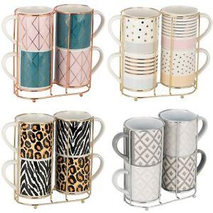 New Beautiful Designs Set of Four Stacking Mugs Bone China Gifts