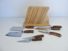 Tuo Kitchen Knife Set Fiery Phoenix Wooden Block Forged German X50CrMoV15 Steel