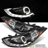 For 2011 2012 2013 Elantra LED DRL Tube Halo Projector Headlights Headlamps Pair