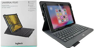Logitech Universal Wireless Keyboard Folio Cover Case w/ Pencil Holder iPad 2019