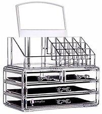 Makeup Acrylic Organizer 4 Drawers Storage Cosmetic Clear Box Brush Holder Tray
