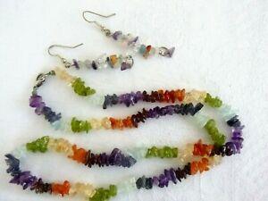 Multi Gemstone Necklace Earrings Set Amethyst Carnelian Citrine Aquamarine