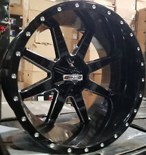 24X14 Xtreme Mudder XM 304 Wheels Black 8 lug Rims Fits Lifted Chevy GMC 2500