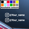 2 x INSTAGRAM PERSONALISED NAME CAR WINDOW BUMPER STICKER VINYL DECAL