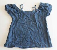 Jeanswest Denim Style Top Size 10 Blue Cold Shoulder Comfort Mum Summer
