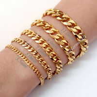 3/5/7/9/11/mm Men's Boy's Chain Curb Gold Tone Stainless Steel Bracelet Jewelry