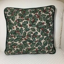 Christmas Holly Accent Pillow Velvet Back