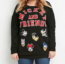 Disney Mickey Friends Embroider Graphic Patch Women Sweater Top Sweatshirt mouse