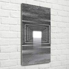 Wandbild Kunst-Druck auf Hart-Glas hochkant 70x140 Ziegelsteine Tunnel