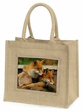 Cute Red Fox Cubs Large Natural Jute Shopping Bag Christmas Gift Idea, AF-11BLN