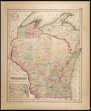 Carte ancienne [1857,Colton] : État américain du Wisconsin. Antique Map USA