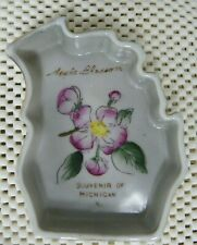 Vintage Acme China  Michigan Pin Dish  Souvenir of Michigan Apple Blossom  Japan